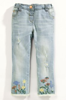 Next Floral Embroidered Hem Jeans (3mths-6yrs)