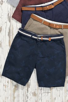 Next Bamboo Print Belted Shorts