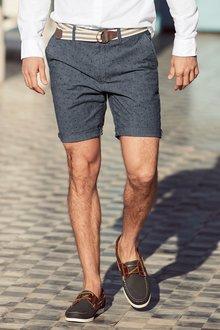 Next Chambray Printed Belted Shorts