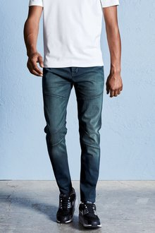 Next Dark Wash Tapered Fit Utility Jeans