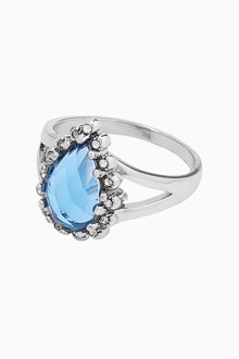 Next Platinum Plated Blue Stone Ring