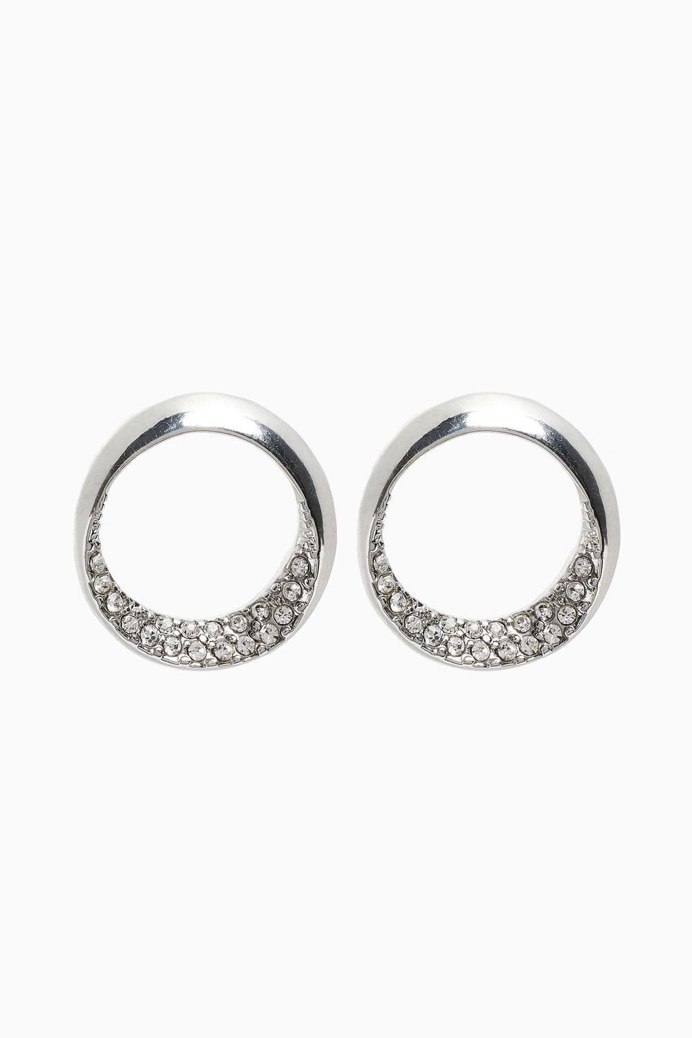 pav stud silver earrings open pave circle azendi studs