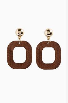 Next Geometric Wood Effect Drop Earrings