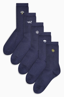 Next Navy Weather Motif Ankle Socks Five Pack