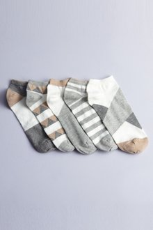 Next Grey Pattern Trainer Socks Five Pack