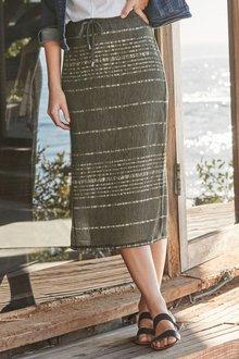 Next Midi Stripe Skirt - Tall