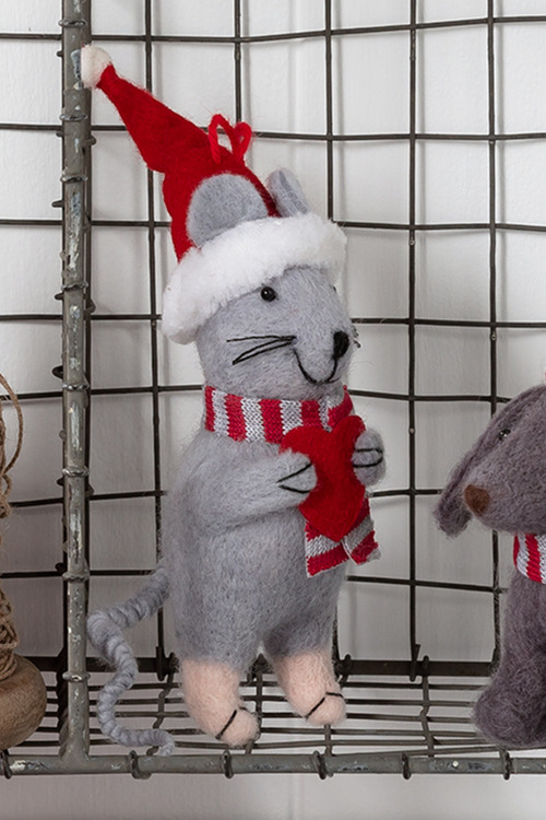 Felt Christmas Mouse Ornament