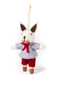 Felt Boy Bunny Ornament