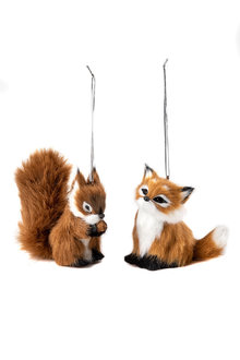 Furry Friends Squirrel and Fox Ornaments Set 2