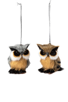 Furry Friends Owl Ornaments Set 2