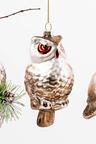 Glass Boy Glitter Owl on Branch Ornament