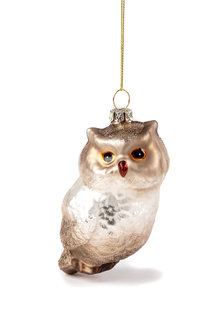 Glass Girl Glitter Owl Ornament