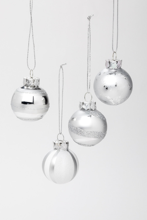 Glitzy Glass Ornaments Set 4