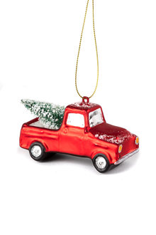 Glass Truck with Tree Ornament