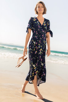 Emerge Tie Sleeve Wrap Dress