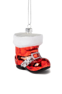 Glass Santa Boot Ornament