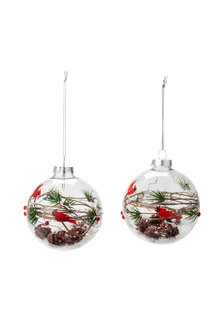 Glass Bird and Branches Ornaments Set 2