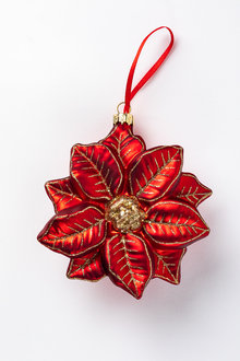 Glass Poinsettia Ornament
