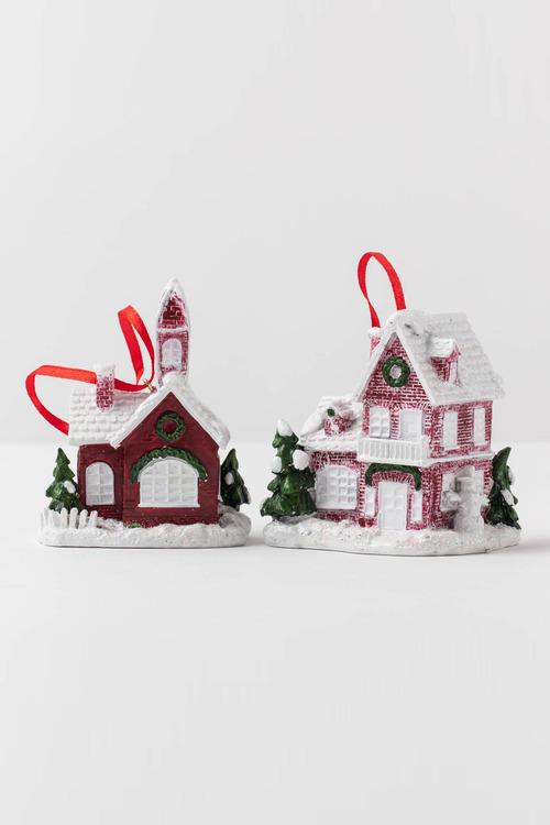 Christmas House Ornament Set 2