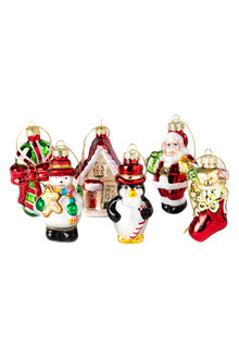 Glass Christmas Ornaments Set 6