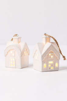 Ceramic Light Up House Ornaments Set 2