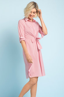 Emerge Knot Front Shirt Dress - 203828