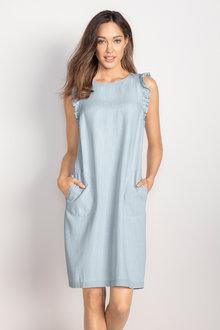 Emerge Chambray Ruffle Dress