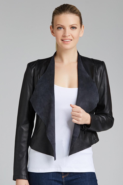 7f0a3d3964e Grace Hill Drape Front Leather Jacket Online
