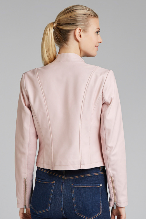 Grace Hill Drape Front Leather Jacket
