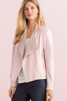 Grace Hill Drape Front Leather Jacket - 203928