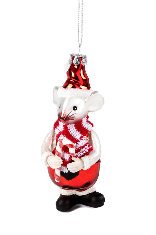 Glass Christmas Mouse Ornament