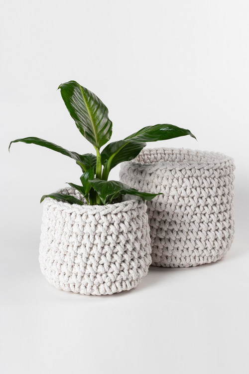 Crochet Basket Set of Two