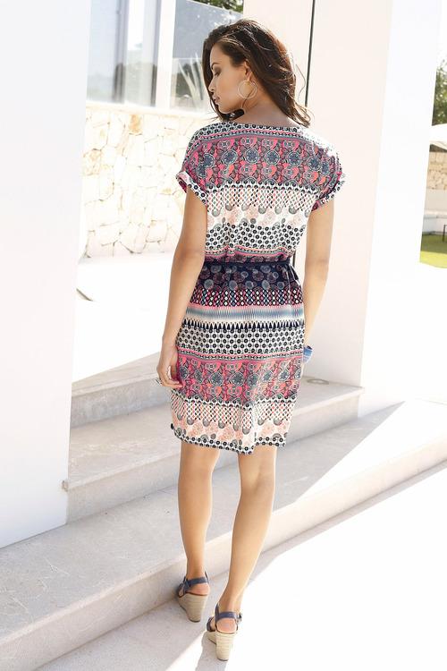 Euro Edit Waist Tie Printed Dress