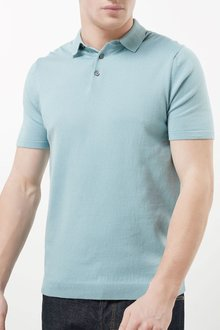 Next Aqua Short Sleeve Knitted Polo