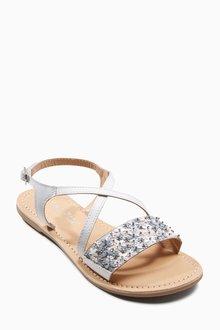 Next White Embellished Flower Sandals (Older Girls)