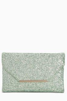 Next Green Glitter Envelope Clutch