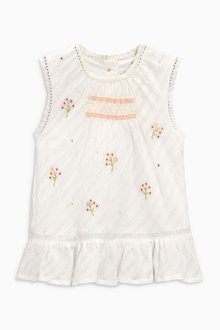 Next Embroidered Smocked Peplum Blouse (3mths-6yrs)