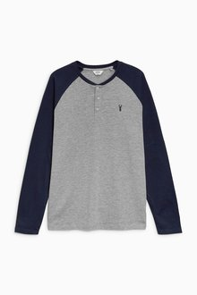 Next Navy/Grey Long Sleeve Embroidered Raglan Top