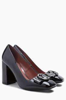 Next Square Toe Buckle Court Shoes