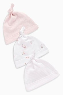 Next Pink/White Tie Top Hats Three Pack (0-18mths)