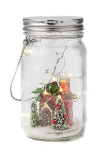 Glass Light Up Mason Jar Ornament