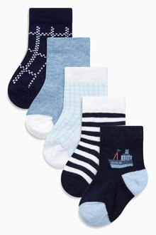 Next Blue/Navy Socks Five Pack (Younger Boys)