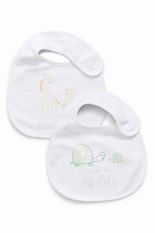 Next Ecru I Love My Mummy And Daddy Regular Bibs Two Pack