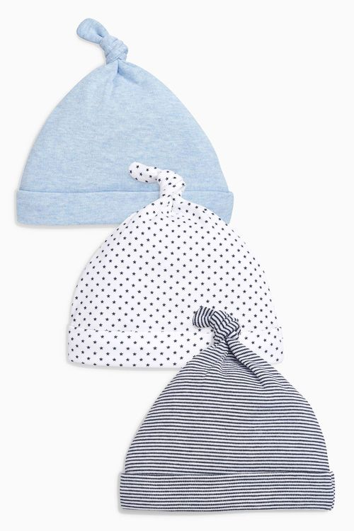 Next Blue/White Tie Top Hats Three Pack (0-18mths)