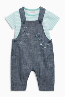 Next Embroidered Chambray Dungarees And Bodysuit Set (0mths-2yrs)