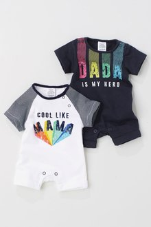 Next Navy/White Mum And Dad Short Leg Rompers Two Pack (0mths-2yrs)