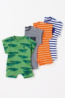 Next Stripe And Print Short Leg Rompers Four Pack (0mths-2yrs)