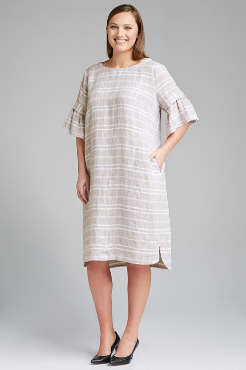 Plus Size - Sara Linen Ruffle Sleeve Dress