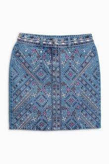 Next Embroidered Denim Skirt