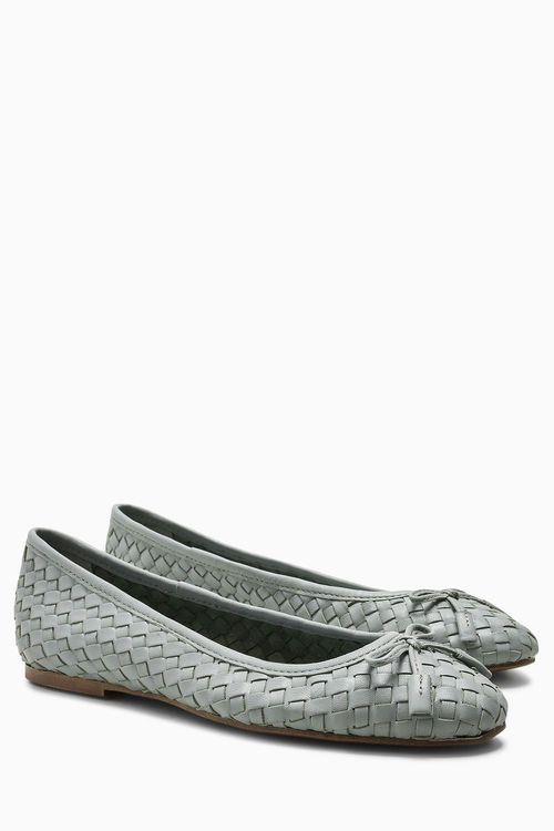 Next Woven Leather Ballerinas